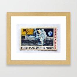 FIRST MAN ON THE MOON Framed Art Print