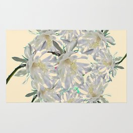 WHITE  NIGHT BLOOMING TROPICAL CEREUS  ON CREAM ART Rug