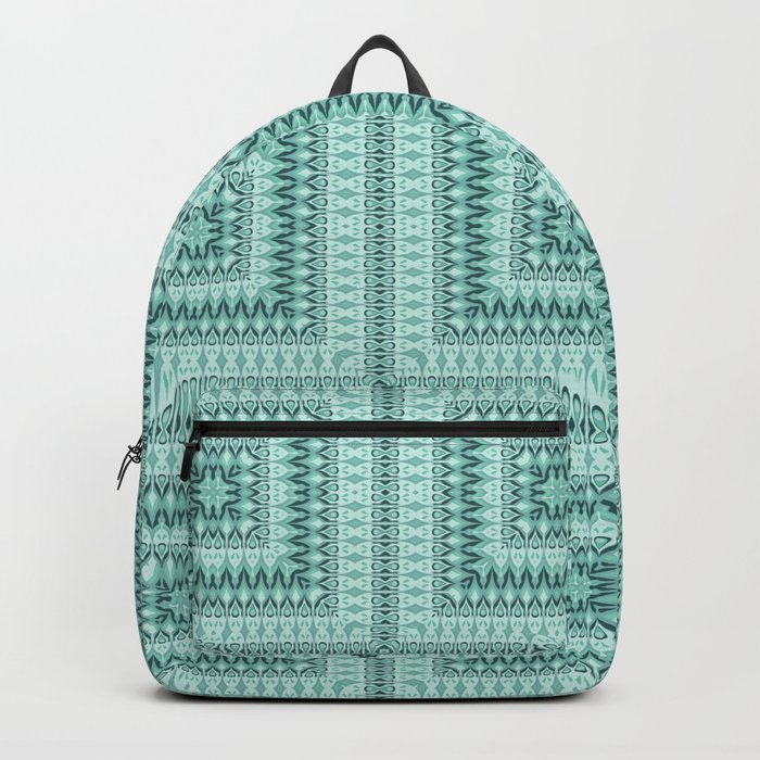 Ornament ethnic square in shades of green . Backpack