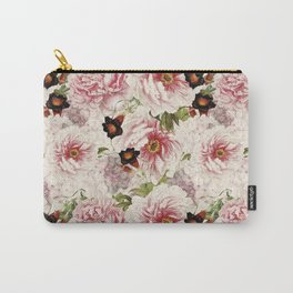 Small Vintage Peony and Ipomea Pattern - Smelling Dreams Carry-All Pouch