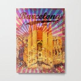 Barcelona vintage poster, metal background Metal Print
