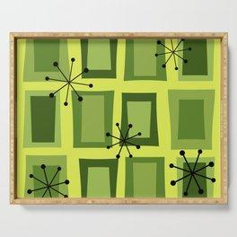 Mid Century Modern Art 'Wonky Doors' Chartreuse Serving Tray