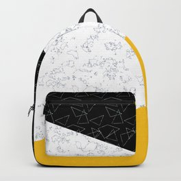 Black yellow white flap Backpack