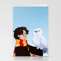 hedwig Stationery Cards featuring Harry and Hedwig by AnimonInk