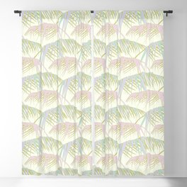cute pattern with tropical palm branches in delicate shades Blackout Curtain