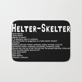 Helter Skelter (white on black) Bath Mat