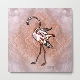 Flamingo geometric Metal Print