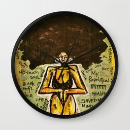 2014 Black Girl Yo Hair Is A Revolution art by Marcellous Lovelace Wall Clock