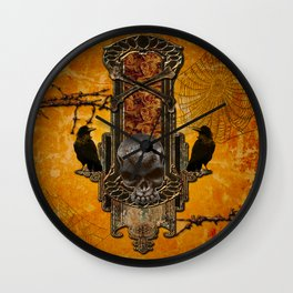 Awesome skulls and crow Wall Clock
