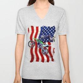 High Flying Freestyle Motocross Rider & US Flag Unisex V-Neck