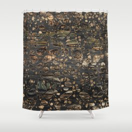 Terrazzo - Mosaic - Wooden texture and gold #5 Shower Curtain