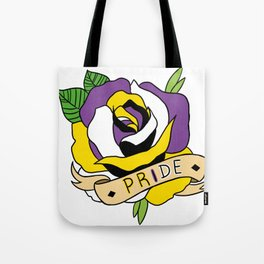 Non-binary Pride Rose Tote Bag