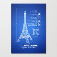 eiffel tower Canvas Prints featuring  Eiffel Tower by mewdew