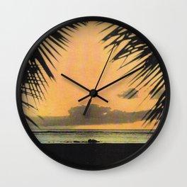 Waikiki Beach Sunset Through the Coconut Trees Wall Clock