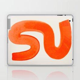 Mid Century Modern Abstract Minimalist Abstract Vintage Retro Orange Watercolor Brush Strokes Laptop & iPad Skin