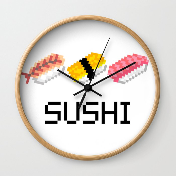 SUSHI×Pixel art Wall Clock