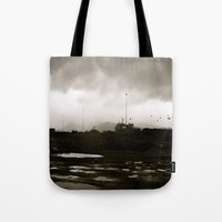 homer Tote Bags featuring Homer Spit  by Julia Blanchette