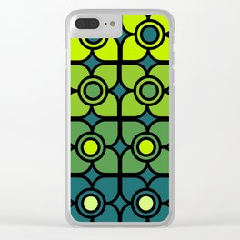 Bold Retro Green Succulent Flowers Clear iPhone Case