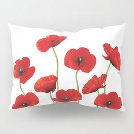 Poppies Field white background Pillow Sham