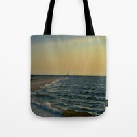 sailboat Tote Bags featuring Sailboat by Damn_Que_Mala