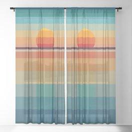Geometric sunset Sheer Curtain