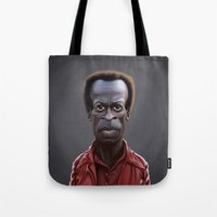miles davis Tote Bags featuring Celebrity Sunday ~ Miles Dewey Davis by rob art | illustration
