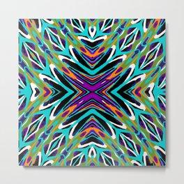 psychedelic geometric graffiti abstract pattern in green blue purple orange Metal Print