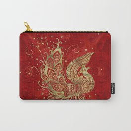 Golden Phoenix Bird on red Carry-All Pouch