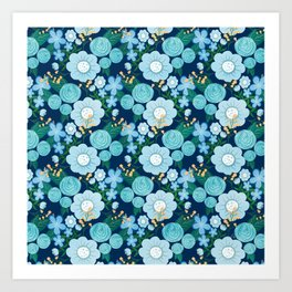 Cute Girly Blue Hand Drawn Flowers Pattern Art Print