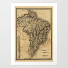 Old map of Brazil and Paraguay Art Print