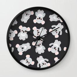 Funny cute koala on black background Wall Clock