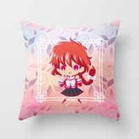 chibi Throw Pillows featuring Chibi Hikaru by Neo Crystal Tokyo
