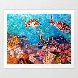 Zach's Seascape - Sea turtles Art Print