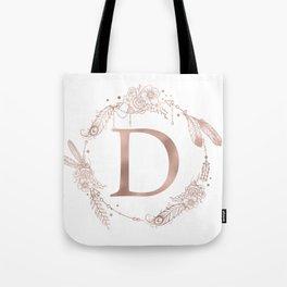 Letter D Rose Gold Pink Initial Monogram Tote Bag