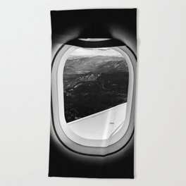 Window Seat // Scenic Mountain View from Airplane Wing // Snowcapped Landscape Photography Beach Towel