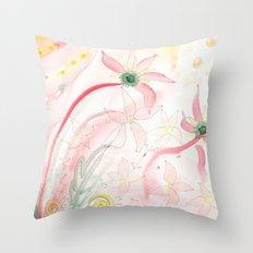 Summer flower meadow Throw Pillow