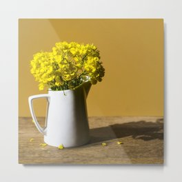 Good morning sunshine- rapeseed flowers and white mug Metal Print
