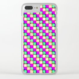 Violet Mint and Coral Patchwork Clear iPhone Case
