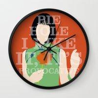 pushing daisies Wall Clocks featuring Pushing Daisies - Vivian by MacGuffin Designs