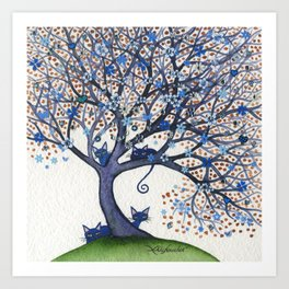 Oregon Whimsical Cats in Tree Art Print