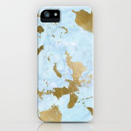 Pale Blue Gold Marble iPhone Case