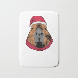 Capybara Ugly Christmas Bath Mat