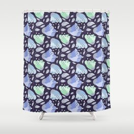 Modern abstract mint pastel purple floral illustration Shower Curtain