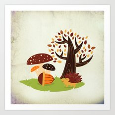 Hedgehog , forest mushrooms, autumn Art Print