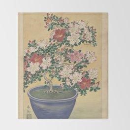 Blooming azalea in blue pot - Ohara Koson (1920 - 1930) Throw Blanket