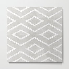 Stitch Diamond Tribal Print in Grey Metal Print