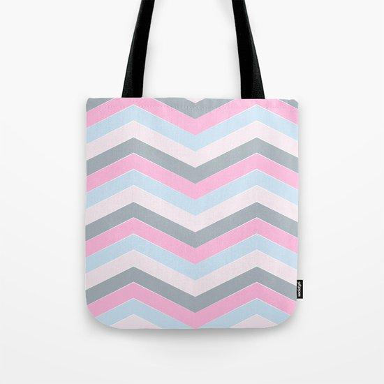 Different pastel colors pink blue grey-chevron-herringbone pattern Tote Bag