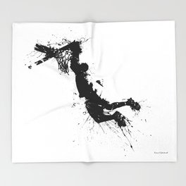 Basketball player dunking in ink Throw Blanket