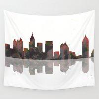 atlanta Wall Tapestries featuring Atlanta Skyline BW1 by Marlene Watson
