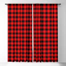 Australian Flag Red and Black Outback Check Buffalo Plaid Blackout Curtain
